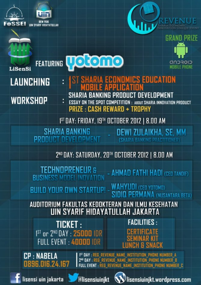 REVENUE (Sharia Economoic Innovation in Unity Event)